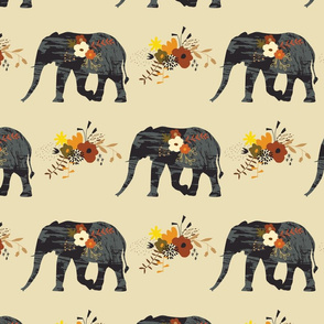 African Elephant - Autumnal Floral