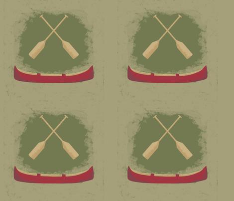 Vintage Retro Red Canoe Oars fabric by phyllisdobbs on Spoonflower - custom fabric