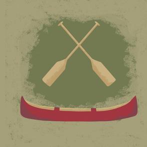 Vintage Retro Red Canoe Oars