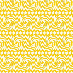 yellow and  white whirl twist wave