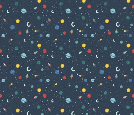 Kristin Nicole Space Mini Planets fabric by kristinnicoleart on Spoonflower - custom fabric