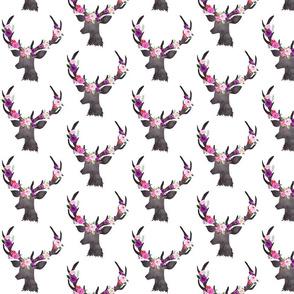 """4"""" Deer Head Floral BRIGHT"""