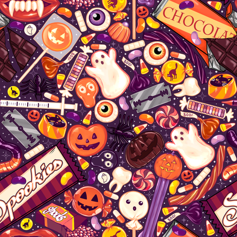 Creepy Halloween Candy on Purple  fabric by paisleyhansen on Spoonflower - custom fabric