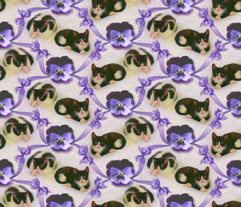 Pussies and Pansies fabric by enid_a on Spoonflower - custom fabric