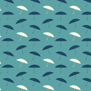 Rainy Day Umbrellas - Seafoam