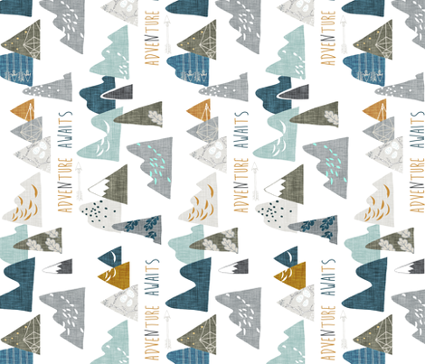 Adventure Awaits REGULAR (white) RAILROAD fabric by nouveau_bohemian on Spoonflower - custom fabric
