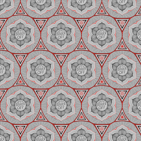 "Grey & red floral ""bugger off"" fabric by secretbean on Spoonflower - custom fabric"