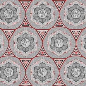 "Grey & red floral ""bugger off"""