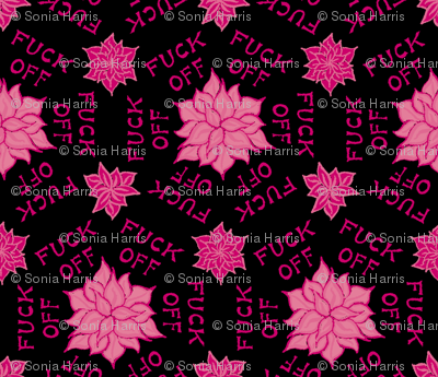 "Pink floral ""fuck off"""
