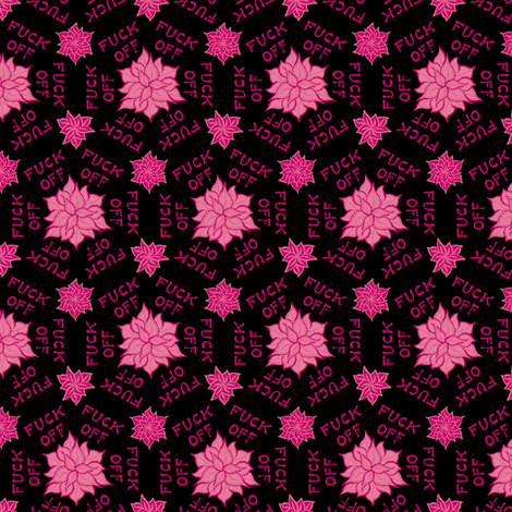 "Pink floral ""fuck off"" fabric by secretbean on Spoonflower - custom fabric"