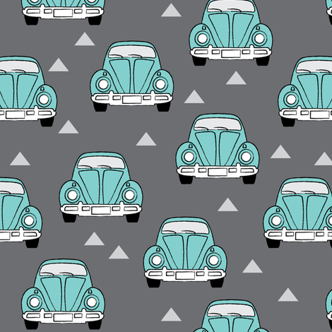 volkswagen-front-teal-on-charcoal fabric by lilcubby on Spoonflower - custom fabric