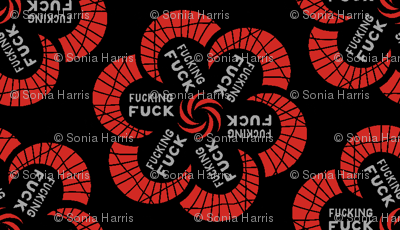 "Red flowers with ""fucking fuck"" in grey"