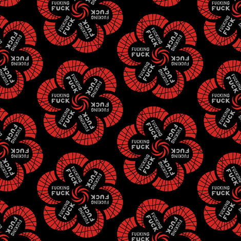 "Red flowers with ""fucking fuck"" in grey fabric by secretbean on Spoonflower - custom fabric"