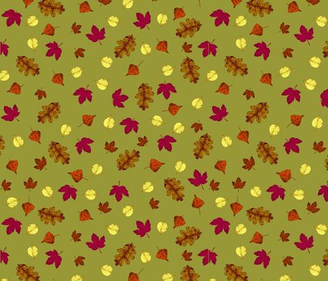 Fluttering Leaves on Golden Lime fabric by lizintn on Spoonflower - custom fabric