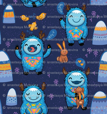 Blue forest monsters small size