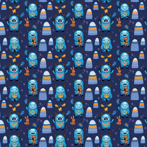 Blue forest monsters small size fabric by penguinhouse on Spoonflower - custom fabric