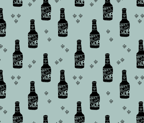 Daddy loves beer there's always hope funny hop bottle illustration fabric by littlesmilemakers on Spoonflower - custom fabric