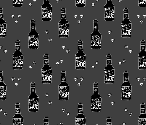 Daddy loves beer there's always hope funny hop bottle illustration gray fabric by littlesmilemakers on Spoonflower - custom fabric