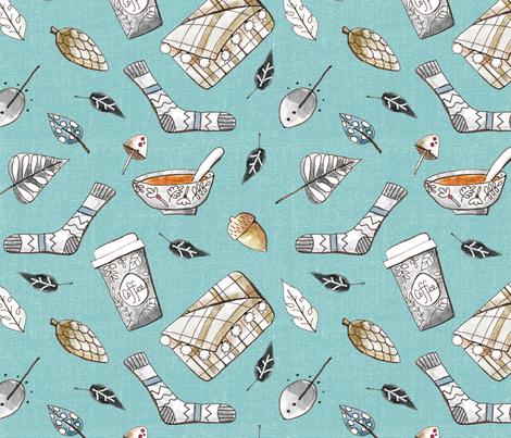 Cozy_autumn_green fabric by bridgettstahlman on Spoonflower - custom fabric