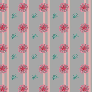 Flowers and stripes in pink