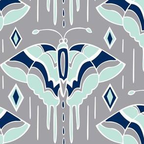 La maison des papillons - Butterflies Grey & Mint