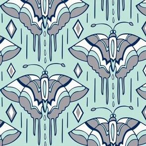 La maison des papillons - Butterflies  Mint, Grey & Navy