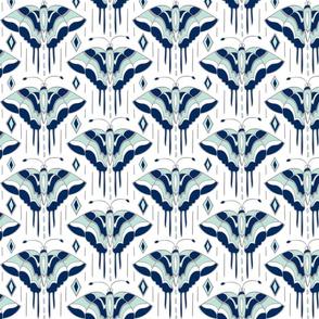 La maison des papillons - Butterflies  White, Navy & Mint
