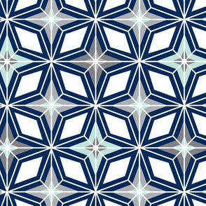 Nordic Star - Navy & Mint Midcentury Modern Geometric