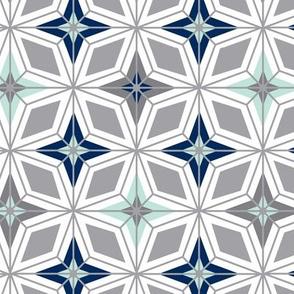 Nordic Star - White Midcentury Modern Geometric
