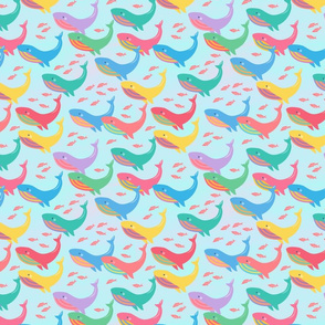 Colorful Whales on Blue