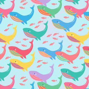 Colorful Whales -Large
