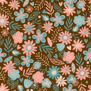 Pink & Blue Flowers on Brown