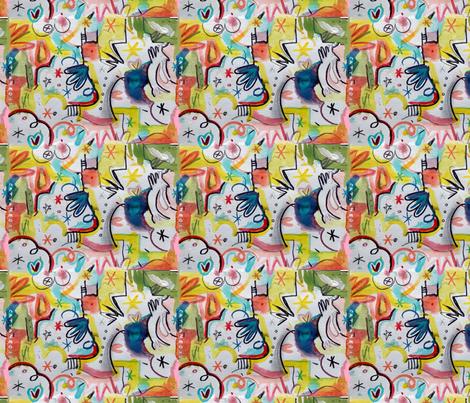 Tou_tou_au_paradis_by_Cattaneo fabric by cedar_creek_studio on Spoonflower - custom fabric