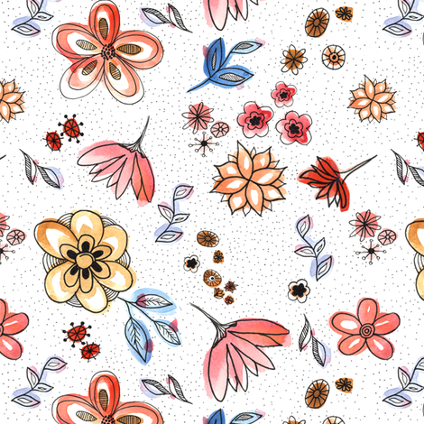 Floral Watercolor fabric by mkaybrinker on Spoonflower - custom fabric