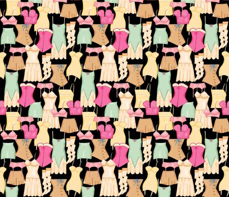 Retro Ladies Lingerie Black Packed fabric by phyllisdobbs on Spoonflower - custom fabric