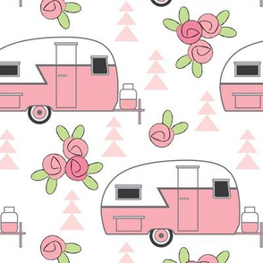 large pink trailers with rosebuds on white
