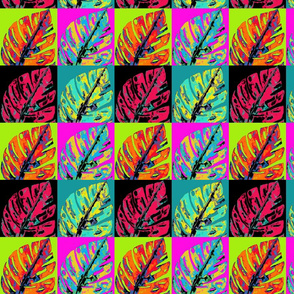 POP ART MONSTERA LEAVES 4 SEASONS CHECKERBOARD