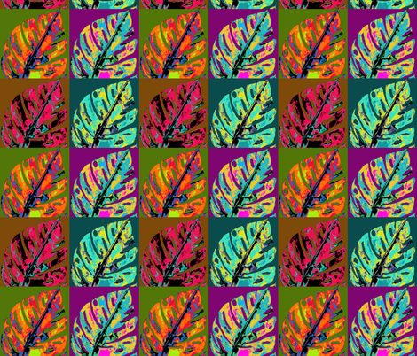 POP ART AUTUMN MONSTERA CHECKERBOARD fabric by paysmage on Spoonflower - custom fabric