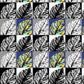 POP ART MONSTERA LEAVES CHECKERBOARD BLACK AND WHITE GREEN MOSS