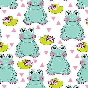 teal frogs-and-water-lilies