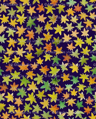 fallen leaves blue