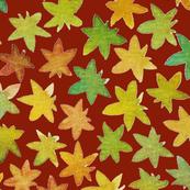 fallen leaves red