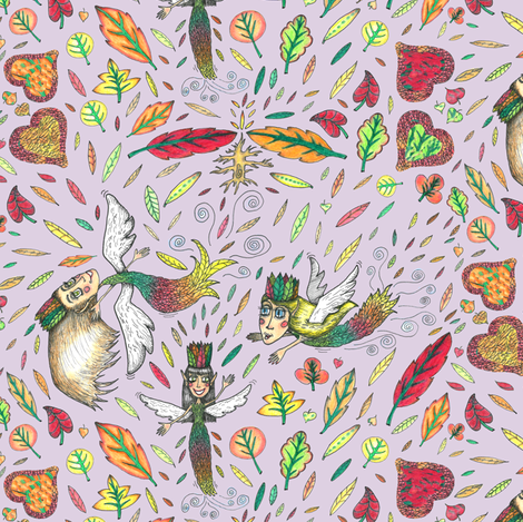 rustic fall leaf fairies, large scale, lavender violet purple orchid lilac fabric by amy_g on Spoonflower - custom fabric