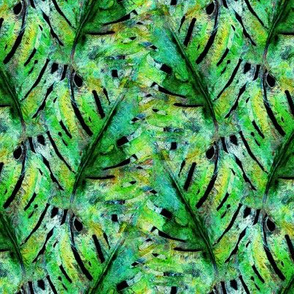 MONSTERA LEAF GREEN MOSS VELVET EFFECT