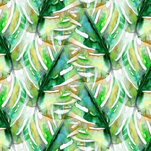 WATERCOLOR MONSTERA LEAF CHEVRON 1 GREEN NATURE