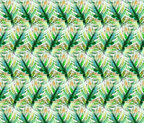 WATERCOLOR MONSTERA LEAF CHEVRON 2 GREEN NATURE fabric by paysmage on Spoonflower - custom fabric