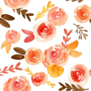 pink blush gold soft fall floral watercolor