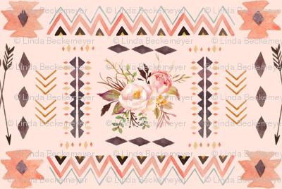 Boho Aztec Coordinate (pink parfait) - Tribal Flowers Southwest Baby Girl Nursery GingerLous