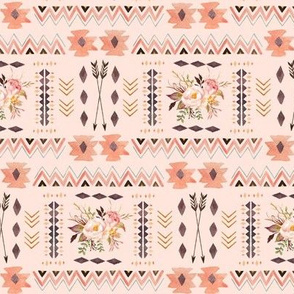 Boho Aztec Coordinate (pink parfait) - Tribal Flowers Southwest Baby Girl Nursery GingerLous