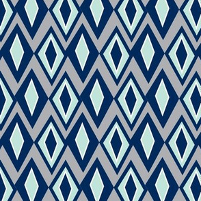 Diamant - Retro Geometric Navy Grey & Mint